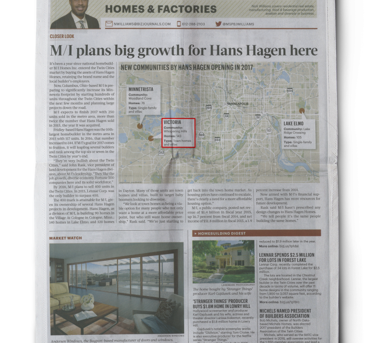 M/I Homes plans big growth for Hans Hagen in Twin Cities